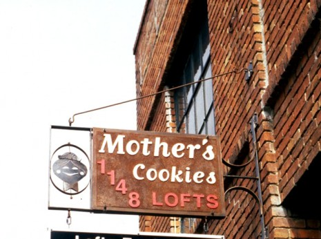 Sign for a historic cookie factory now live/work lofts