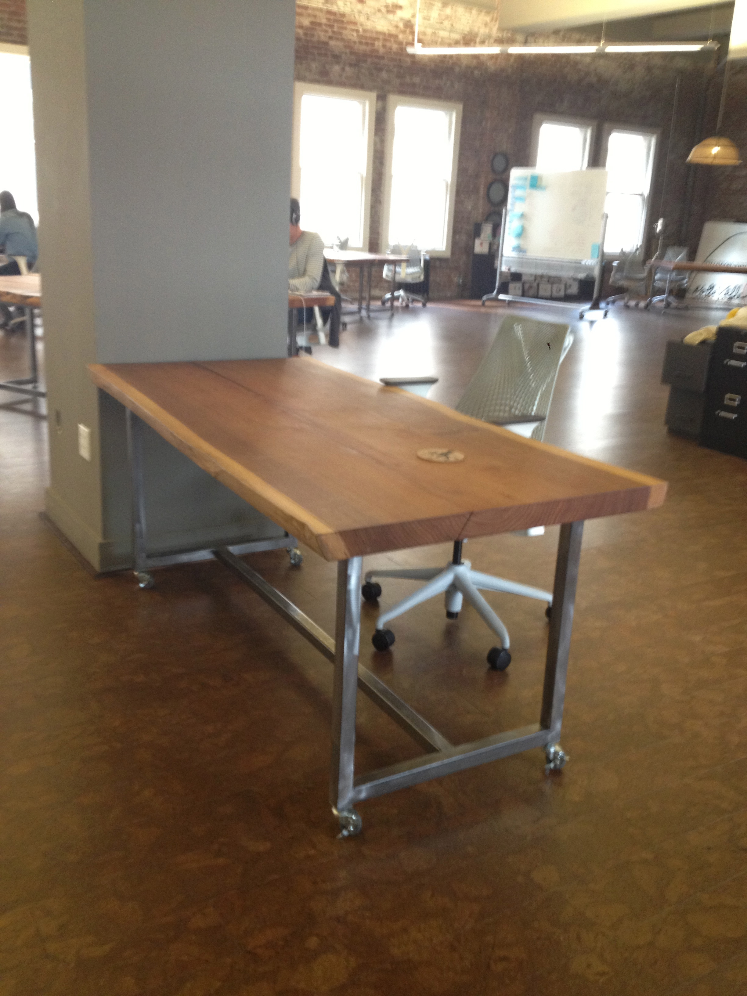 Charmant Solid Wood Top With Metal Base.